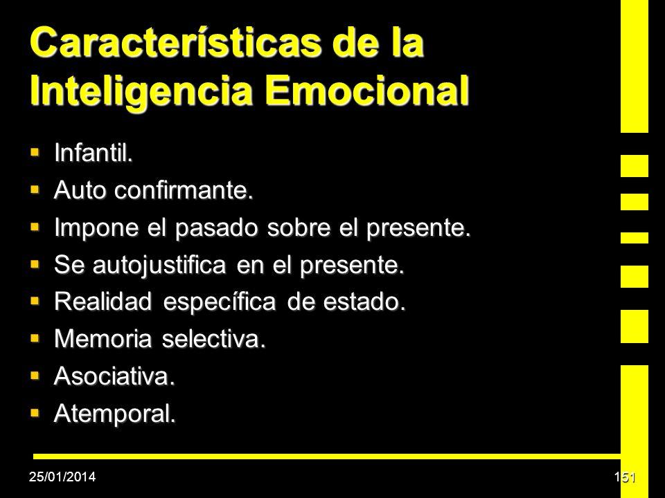 Características de la Inteligencia Emocional Infantil. Infantil. Auto confirmante. Auto confirmante. Impone el pasado sobre el presente. Impone el pas