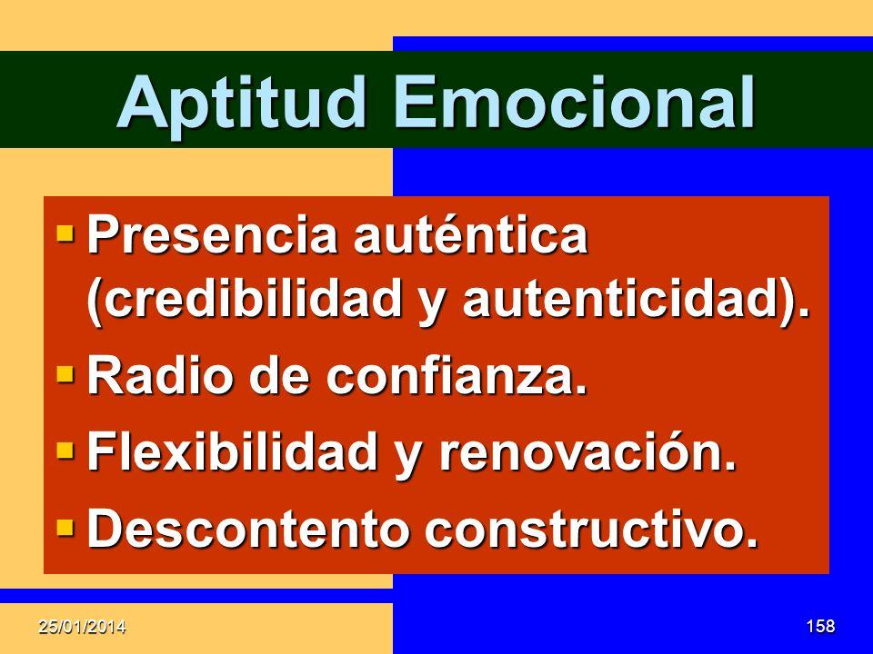 Aptitud Emocional Presencia auténtica (credibilidad y autenticidad).