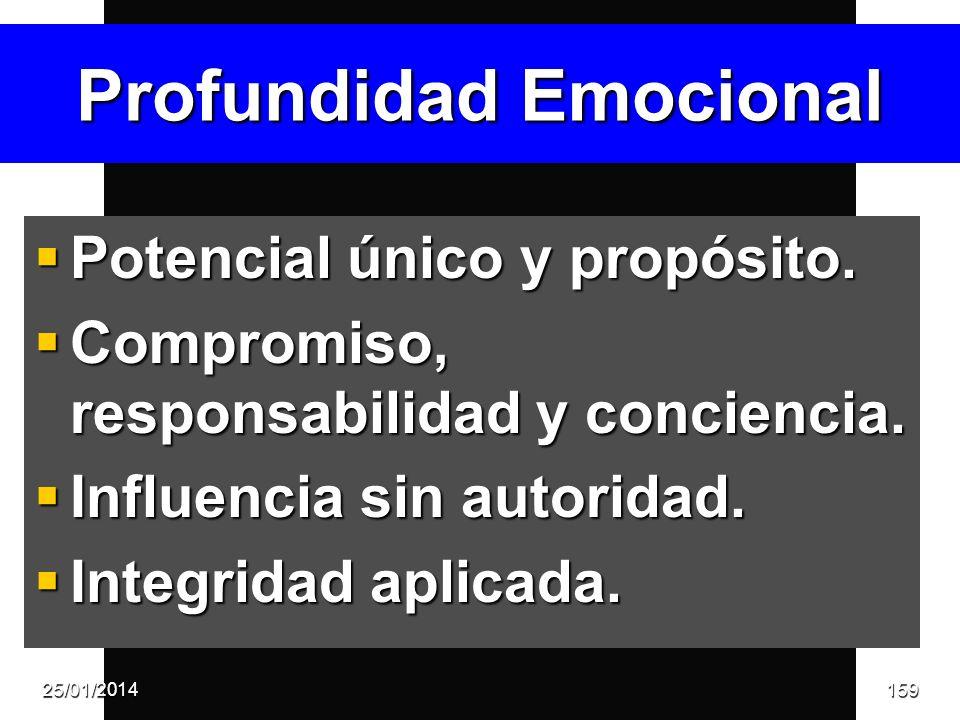 Profundidad Emocional Potencial único y propósito. Potencial único y propósito. Compromiso, responsabilidad y conciencia. Compromiso, responsabilidad
