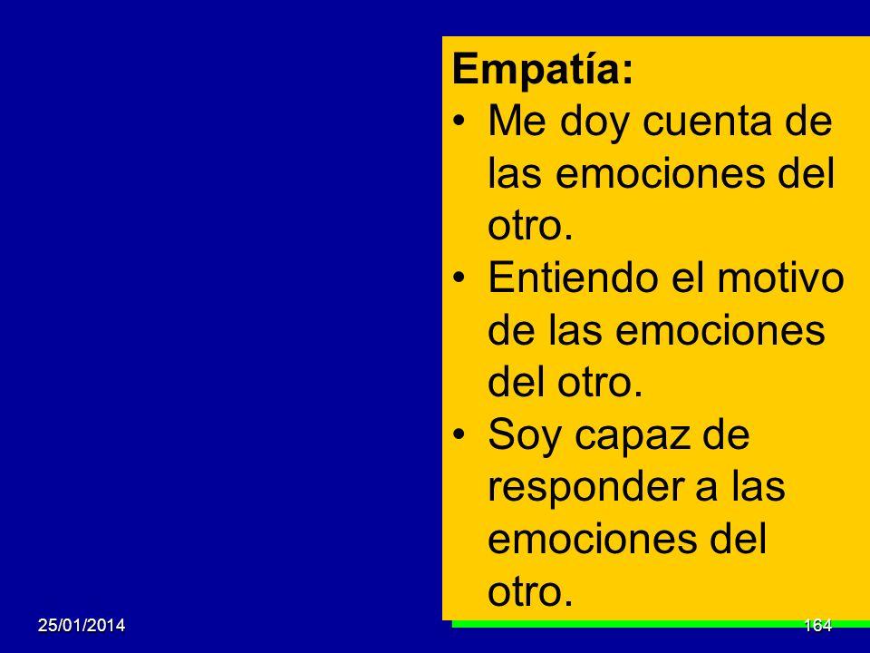 Empatía: Me doy cuenta de las emociones del otro. Entiendo el motivo de las emociones del otro. Soy capaz de responder a las emociones del otro. Empat
