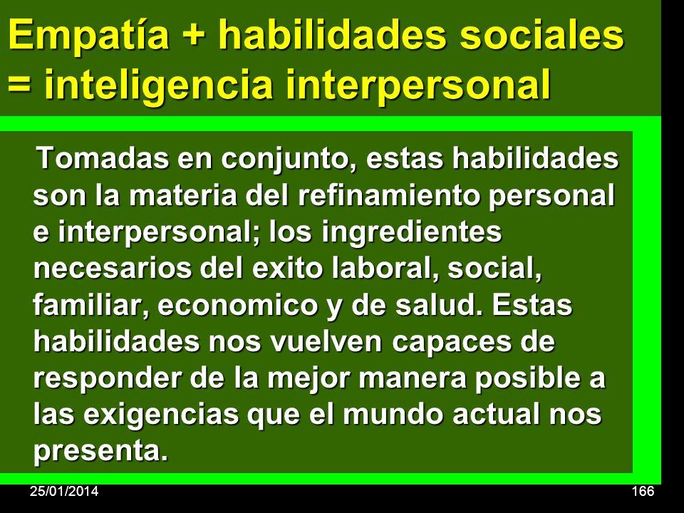Tomadas en conjunto, estas habilidades son la materia del refinamiento personal e interpersonal; los ingredientes necesarios del exito laboral, social, familiar, economico y de salud.