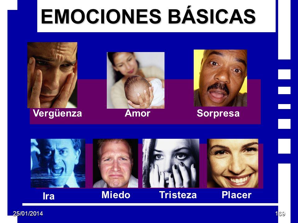 EMOCIONES BÁSICAS Ira TristezaMiedoPlacer AmorSorpresaVergüenza 25/01/2014169