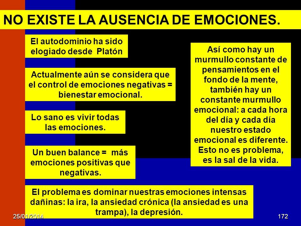 Actualmente aún se considera que el control de emociones negativas = bienestar emocional. NO EXISTE LA AUSENCIA DE EMOCIONES. Así como hay un murmullo