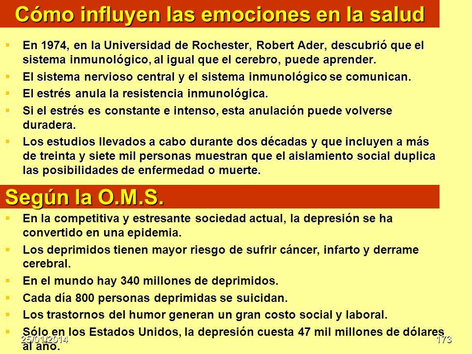 Cómo influyen las emociones en la salud En 1974, en la Universidad de Rochester, Robert Ader, descubrió que el sistema inmunológico, al igual que el c
