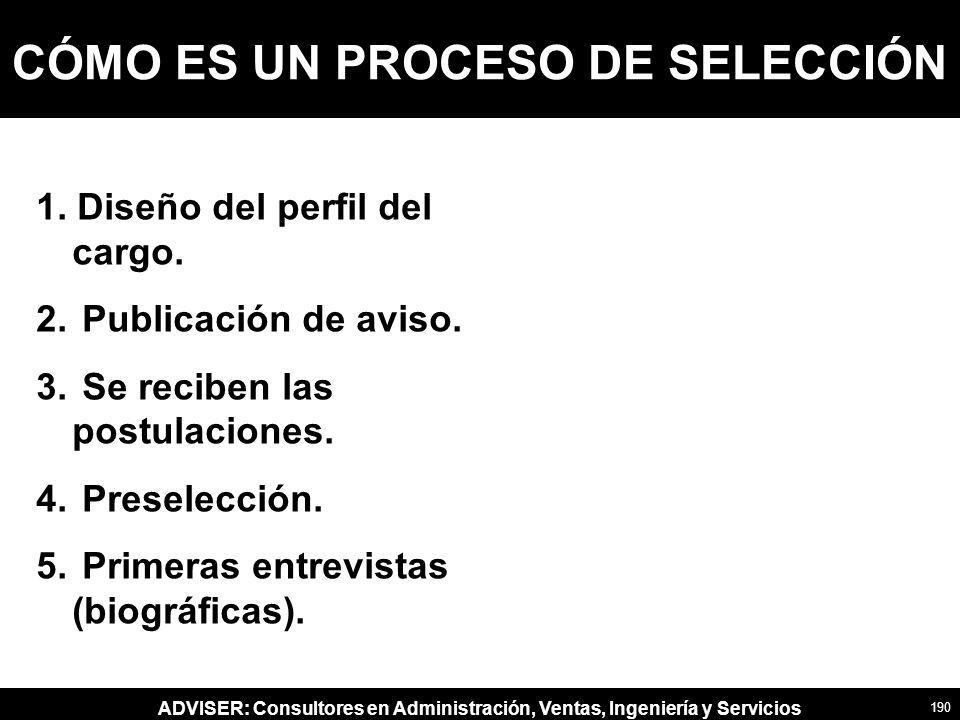 ADVISER: Consultores en Administración, Ventas, Ingeniería y Servicios CÓMO ES UN PROCESO DE SELECCIÓN 1.