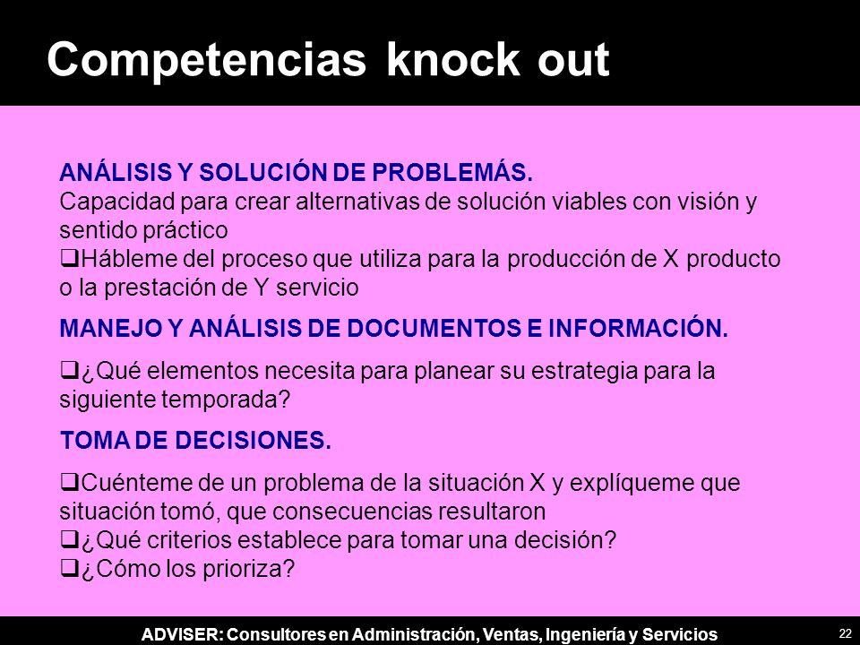 ADVISER: Consultores en Administración, Ventas, Ingeniería y Servicios ANÁLISIS Y SOLUCIÓN DE PROBLEMÁS.
