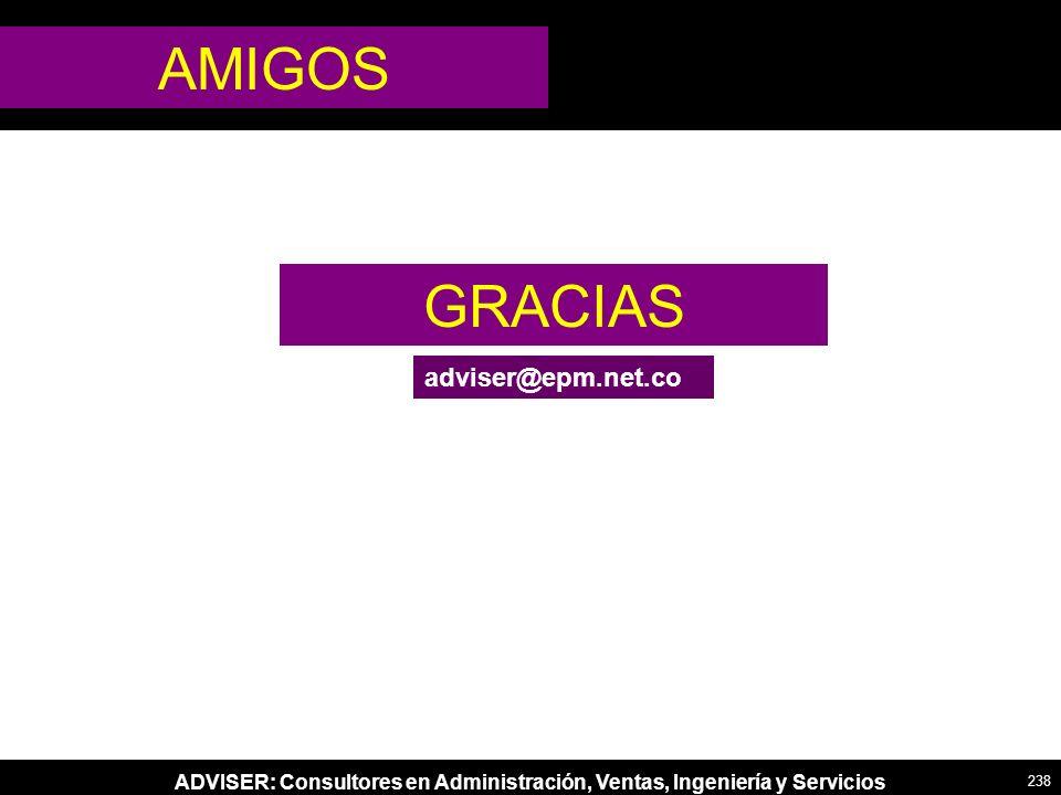 ADVISER: Consultores en Administración, Ventas, Ingeniería y Servicios GRACIAS AMIGOS adviser@epm.net.co 238