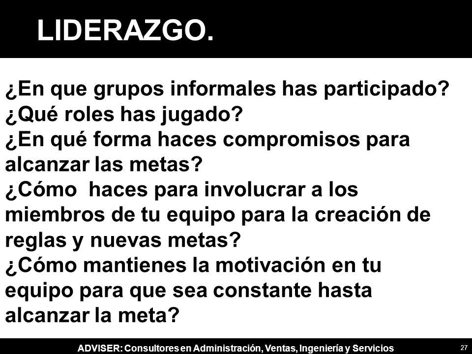 ADVISER: Consultores en Administración, Ventas, Ingeniería y Servicios ¿En que grupos informales has participado.