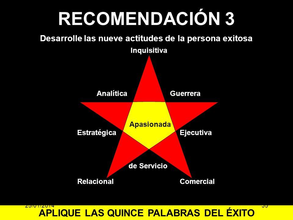 Inquisitiva Estratégica GuerreraAnalítica Ejecutiva Desarrolle las nueve actitudes de la persona exitosa Apasionada RelacionalComercial de Servicio AP