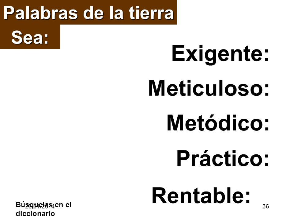 Palabras de la tierra Rentable: Exigente: Meticuloso: Práctico: Metódico: Sea: Búsquelas en el diccionario 25/01/201436