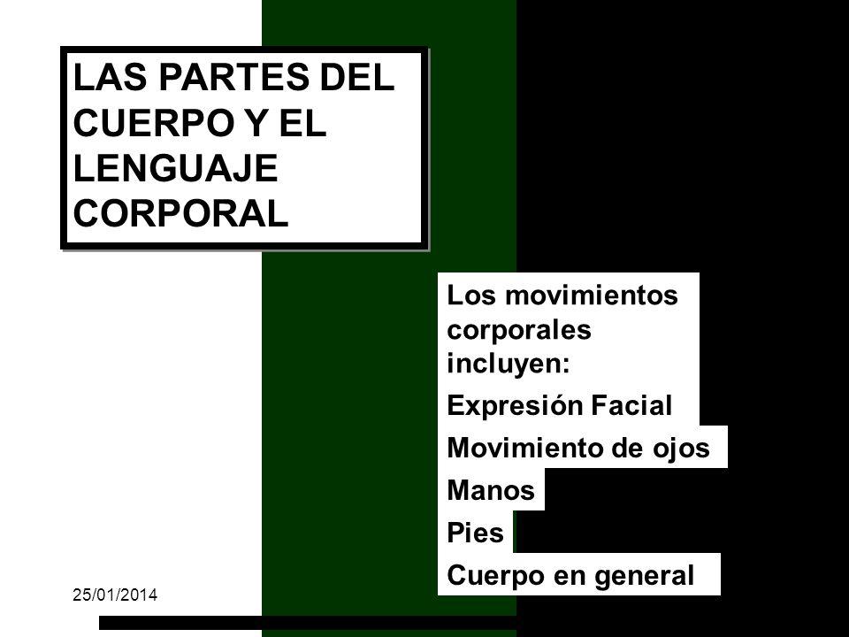 Los movimientos corporales incluyen: Expresión Facial Movimiento de ojos Manos Pies Cuerpo en general LAS PARTES DEL CUERPO Y EL LENGUAJE CORPORAL 25/01/201469
