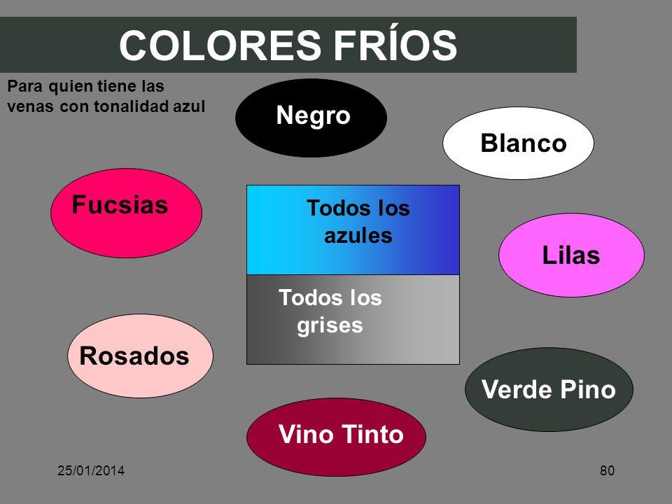 COLORES FRÍOS Negro Blanco Rosados Lilas Fucsias Verde Pino Todos los azules Todos los grises Vino Tinto Para quien tiene las venas con tonalidad azul