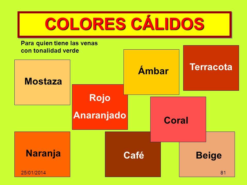 COLORES CÁLIDOS Mostaza Rojo Anaranjado Terracota Café Ámbar Naranja Coral Beige Para quien tiene las venas con tonalidad verde 25/01/201481
