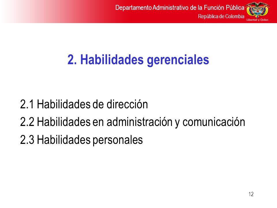 Departamento Administrativo de la Función Pública República de Colombia 12 2. Habilidades gerenciales 2.1 Habilidades de dirección 2.2 Habilidades en
