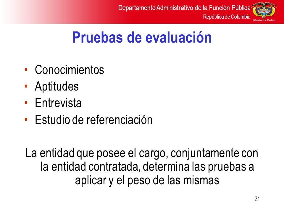 Departamento Administrativo de la Función Pública República de Colombia 21 Pruebas de evaluación Conocimientos Aptitudes Entrevista Estudio de referen