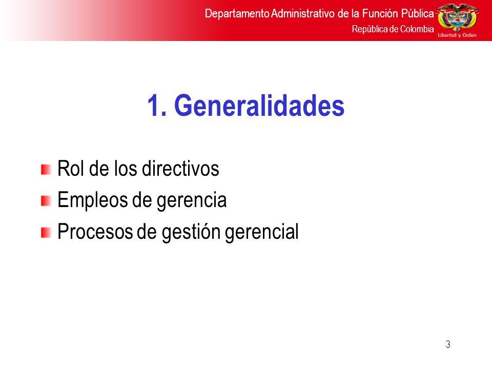 Departamento Administrativo de la Función Pública República de Colombia 3 1. Generalidades Rol de los directivos Empleos de gerencia Procesos de gesti