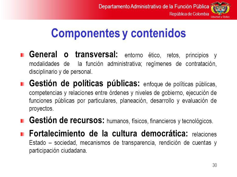 Departamento Administrativo de la Función Pública República de Colombia 30 Componentes y contenidos General o transversal: entorno ético, retos, princ