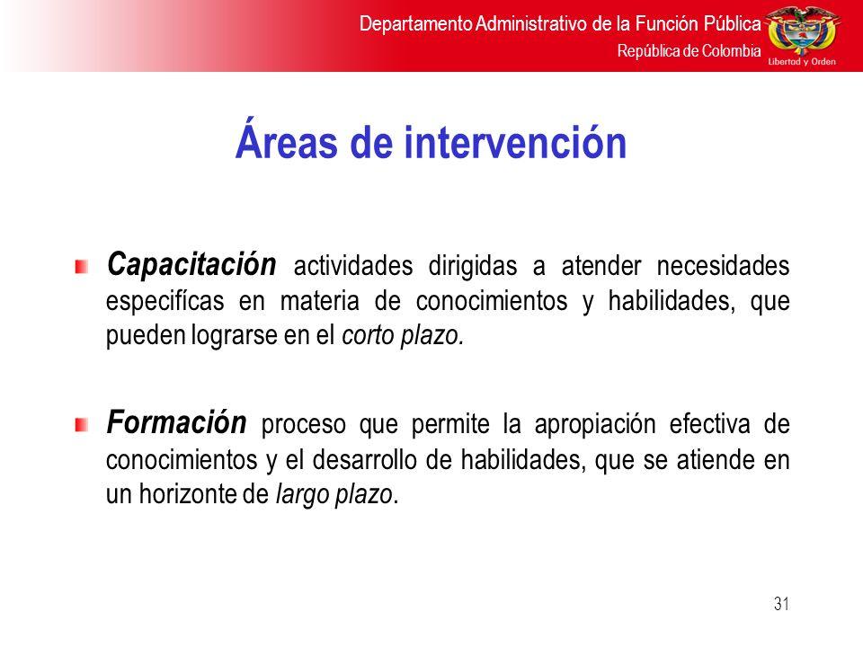 Departamento Administrativo de la Función Pública República de Colombia 31 Áreas de intervención Capacitación actividades dirigidas a atender necesida