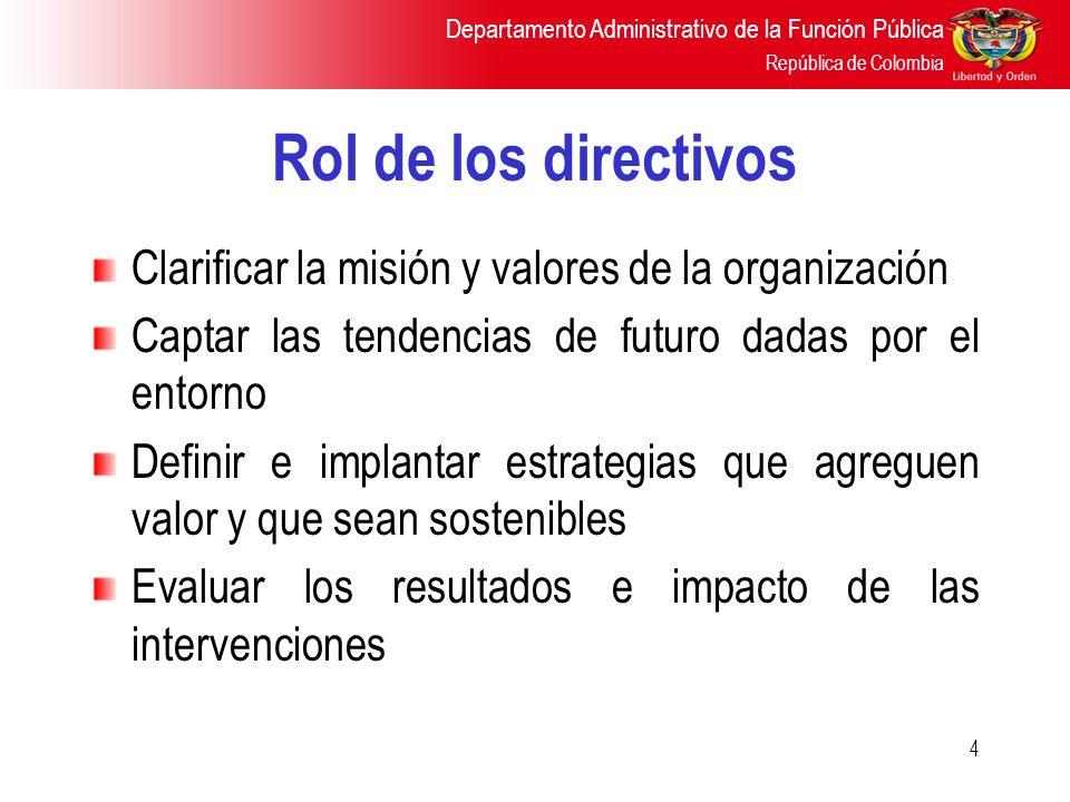 Departamento Administrativo de la Función Pública República de Colombia 4 Rol de los directivos Clarificar la misión y valores de la organización Capt