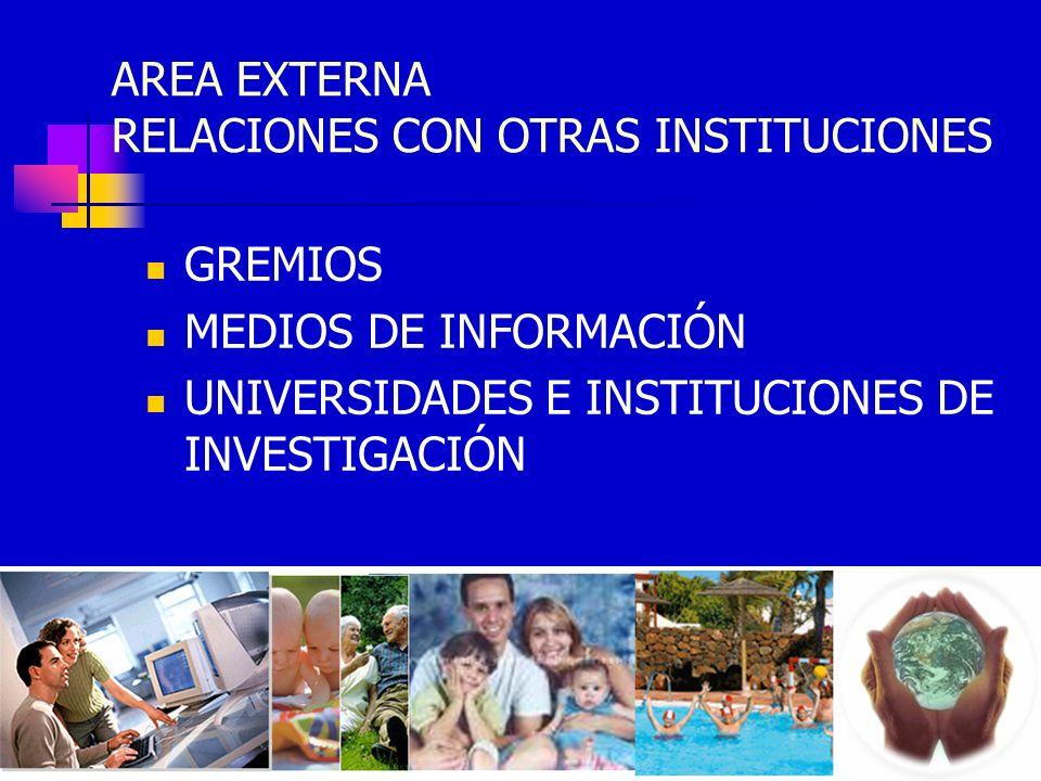 AREA EXTERNA RELACIONES CON OTRAS INSTITUCIONES GREMIOS MEDIOS DE INFORMACIÓN UNIVERSIDADES E INSTITUCIONES DE INVESTIGACIÓN