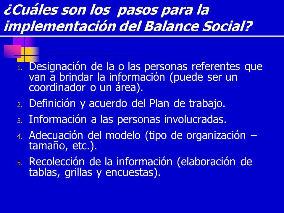 ¿Cuáles son los pasos para la implementación del Balance Social? 1. Designación de la o las personas referentes que van a brindar la información (pued