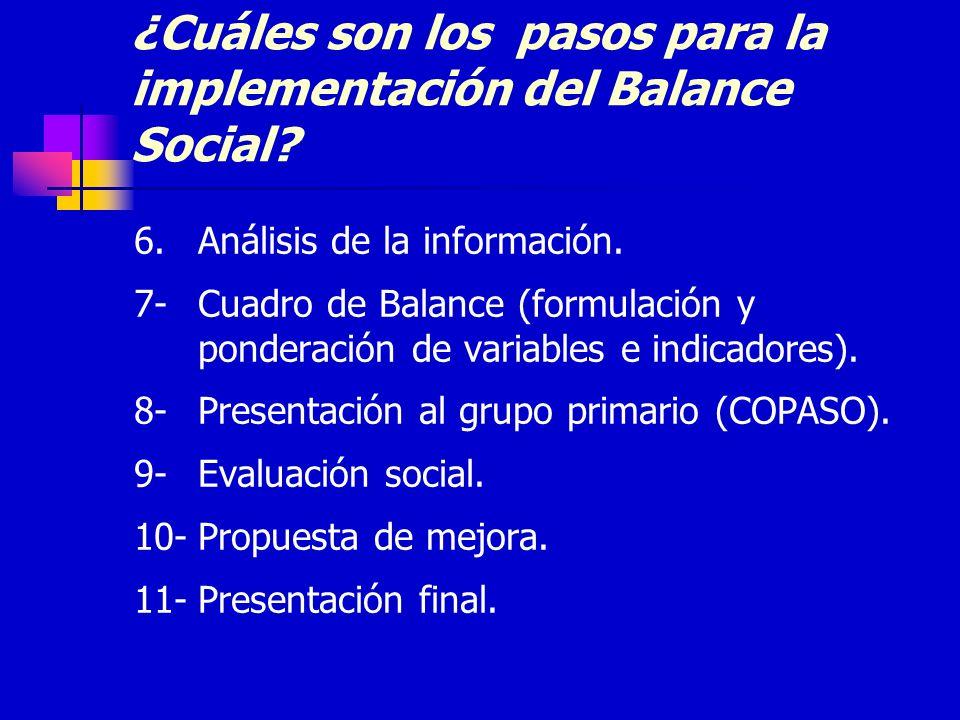 ¿Cuáles son los pasos para la implementación del Balance Social? 6.Análisis de la información. 7-Cuadro de Balance (formulación y ponderación de varia