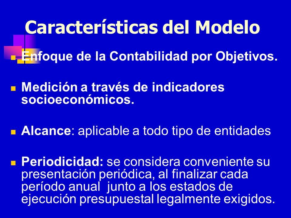 Características del Modelo Enfoque de la Contabilidad por Objetivos. Medición a través de indicadores socioeconómicos. Alcance: aplicable a todo tipo