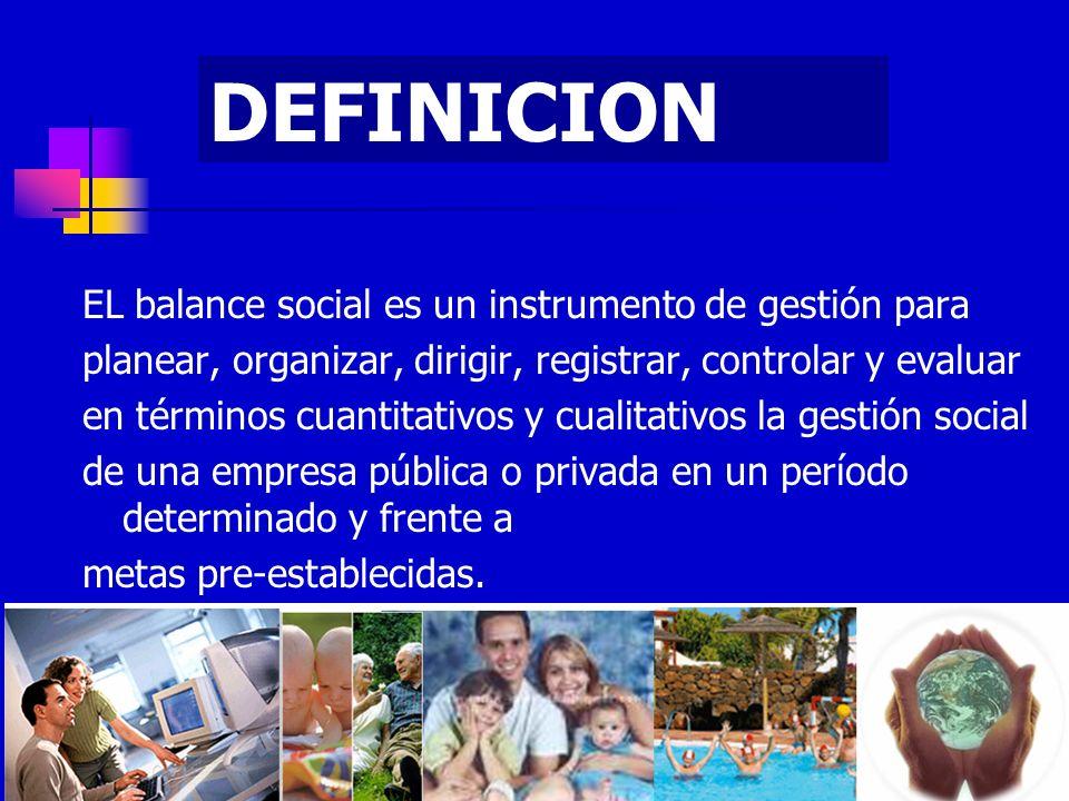 EL balance social es un instrumento de gestión para planear, organizar, dirigir, registrar, controlar y evaluar en términos cuantitativos y cualitativ