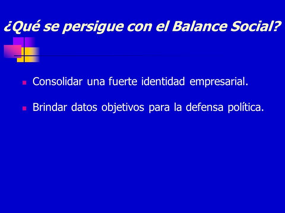 ¿Qué se persigue con el Balance Social? Consolidar una fuerte identidad empresarial. Brindar datos objetivos para la defensa política.
