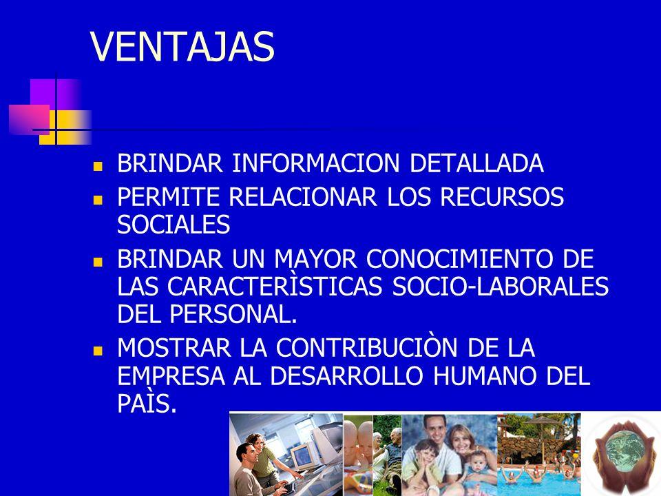 VENTAJAS BRINDAR INFORMACION DETALLADA PERMITE RELACIONAR LOS RECURSOS SOCIALES BRINDAR UN MAYOR CONOCIMIENTO DE LAS CARACTERÌSTICAS SOCIO-LABORALES D