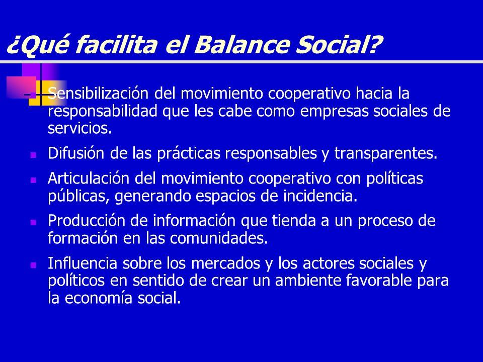 ¿Qué facilita el Balance Social? Sensibilización del movimiento cooperativo hacia la responsabilidad que les cabe como empresas sociales de servicios.