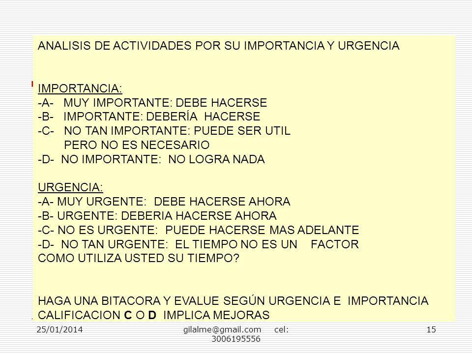 25/01/2014gilalme@gmail.com cel: 3006195556 15 ANALISIS DE ACTIVIDADES POR SU IMPORTANCIA Y URGENCIA IMPORTANCIA: -A- MUY IMPORTANTE: DEBE HACERSE -B-