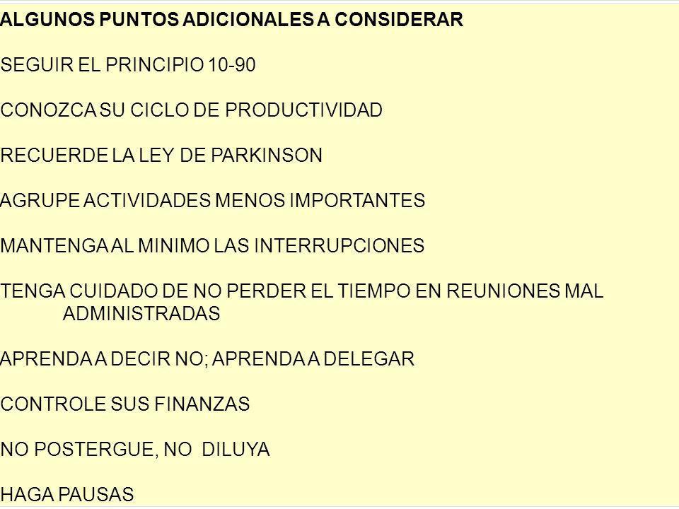 25/01/2014gilalme@gmail.com cel: 3006195556 17 ALGUNOS PUNTOS ADICIONALES A CONSIDERAR SEGUIR EL PRINCIPIO 10-90 CONOZCA SU CICLO DE PRODUCTIVIDAD REC