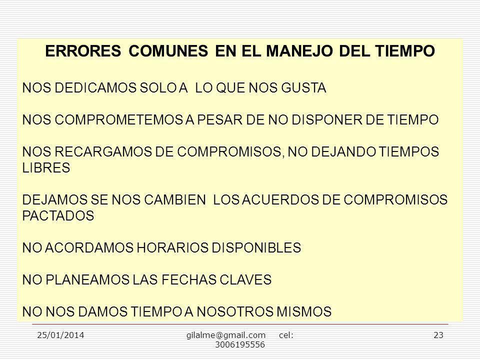 25/01/2014gilalme@gmail.com cel: 3006195556 23 ERRORES COMUNES EN EL MANEJO DEL TIEMPO NOS DEDICAMOS SOLO A LO QUE NOS GUSTA NOS COMPROMETEMOS A PESAR