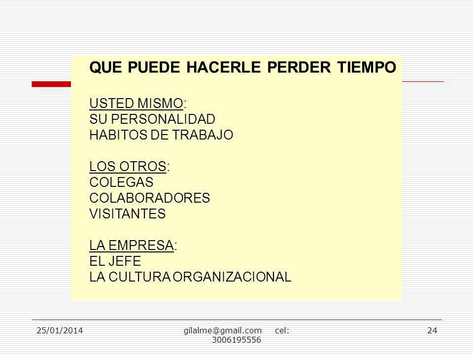 25/01/2014gilalme@gmail.com cel: 3006195556 24 QUE PUEDE HACERLE PERDER TIEMPO USTED MISMO: SU PERSONALIDAD HABITOS DE TRABAJO LOS OTROS: COLEGAS COLA