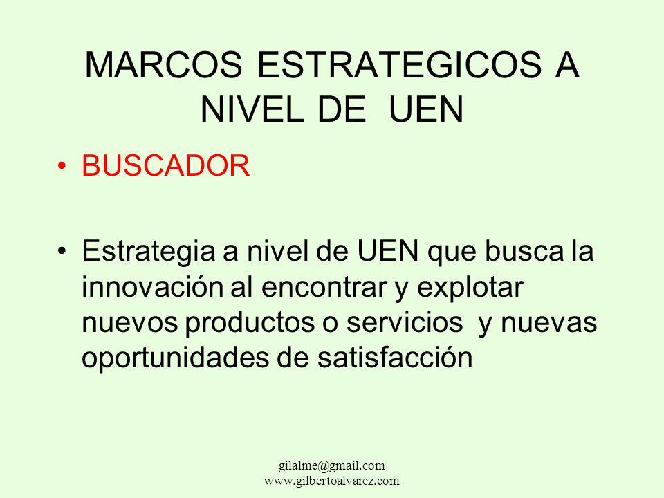 MARCOS ESTRATEGICOS A NIVEL DE UEN DEFENSOR Estrategia a nivel de UEN que busca estabilidad al producir solo un número limitado de productos o servici