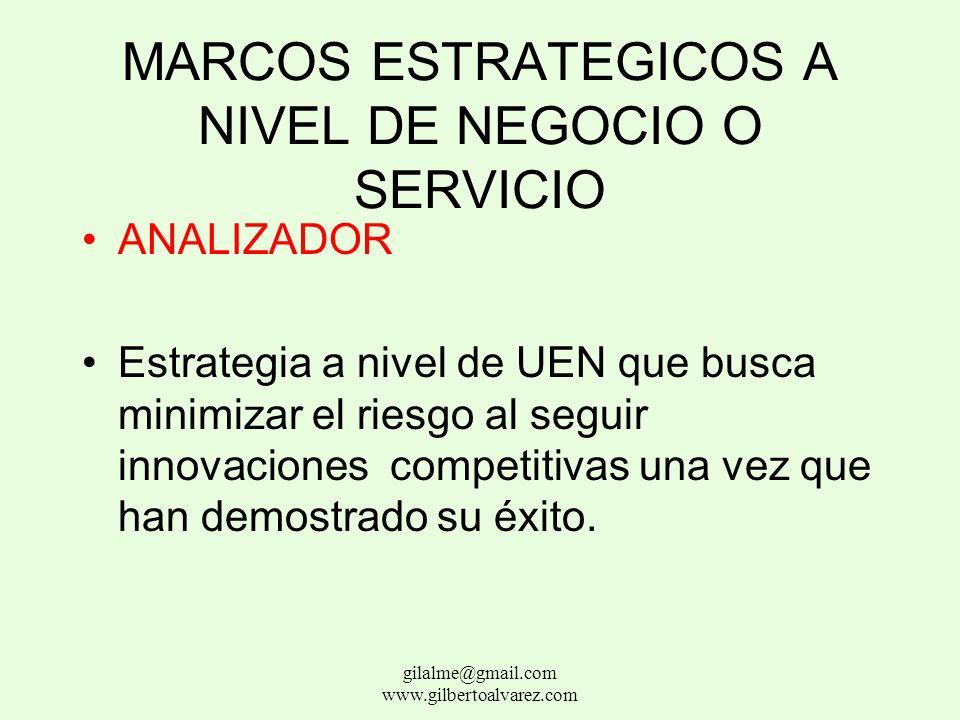 MARCOS ESTRATEGICOS A NIVEL DE UEN BUSCADOR Estrategia a nivel de UEN que busca la innovación al encontrar y explotar nuevos productos o servicios y n
