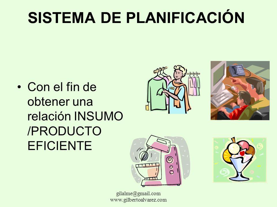 SISTEMA DE PLANIFICACIÓN Este sistema inicia con el análisis y cuantificación del problema y su solución, comparando la situación actual generando un