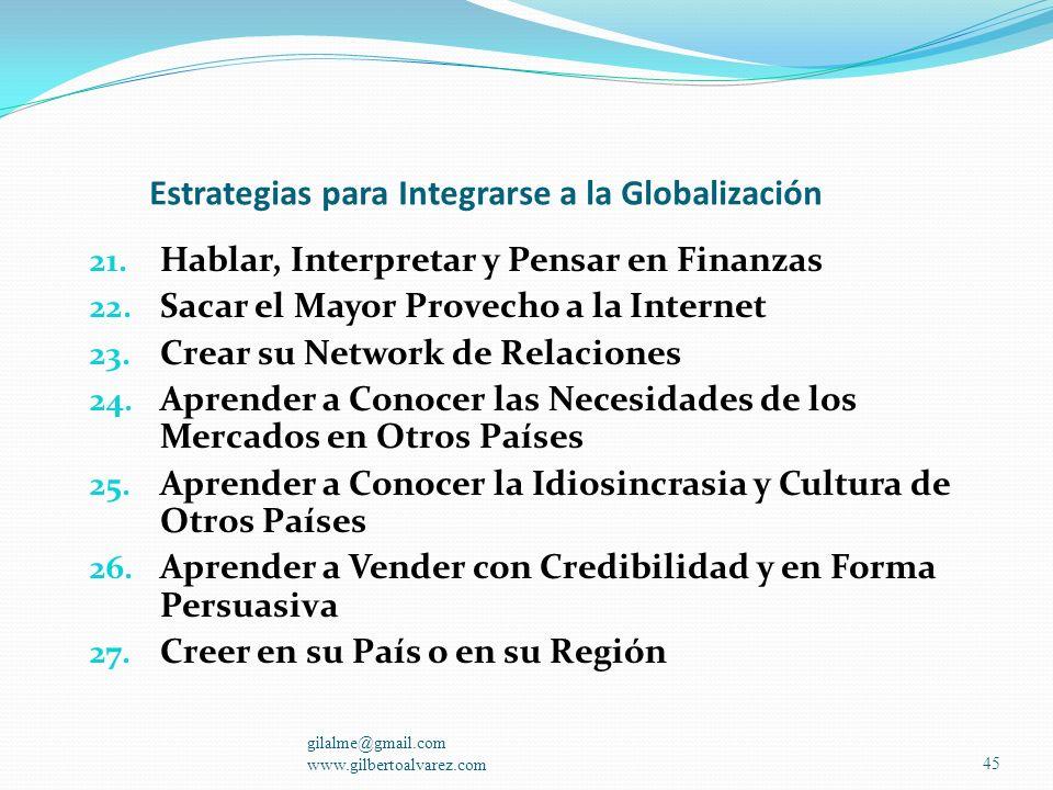 Estrategias para Integrarse a la Globalización 11. Quitarse el Complejo de Patito Feo 12. Aprender a Negociar 13. Ser Exigente Consigo Mismo y con los
