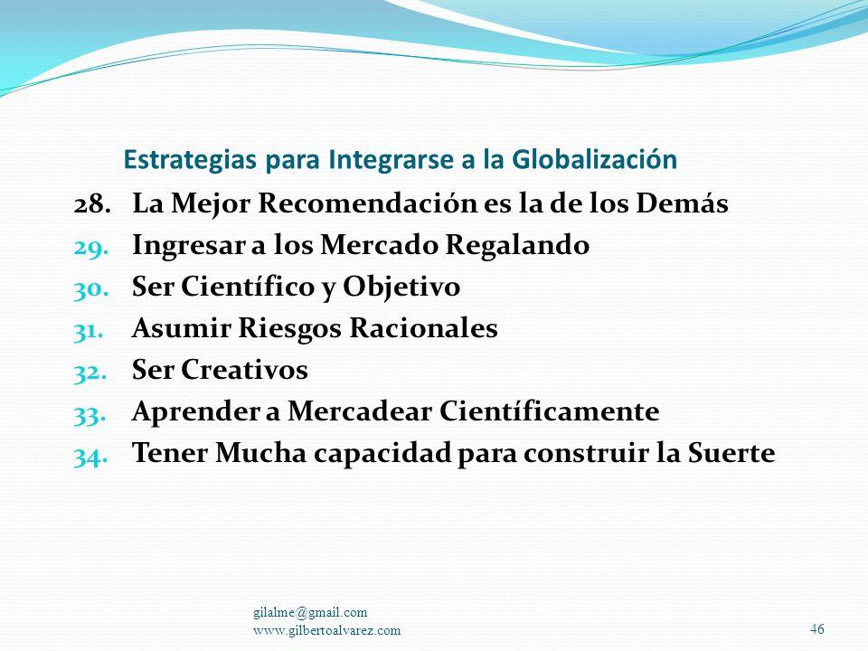 Estrategias para Integrarse a la Globalización 21. Hablar, Interpretar y Pensar en Finanzas 22. Sacar el Mayor Provecho a la Internet 23. Crear su Net