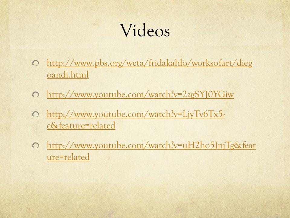 Videos http://www.pbs.org/weta/fridakahlo/worksofart/dieg oandi.html http://www.youtube.com/watch?v=2zgSYJ0YGiw http://www.youtube.com/watch?v=LjyTv6T