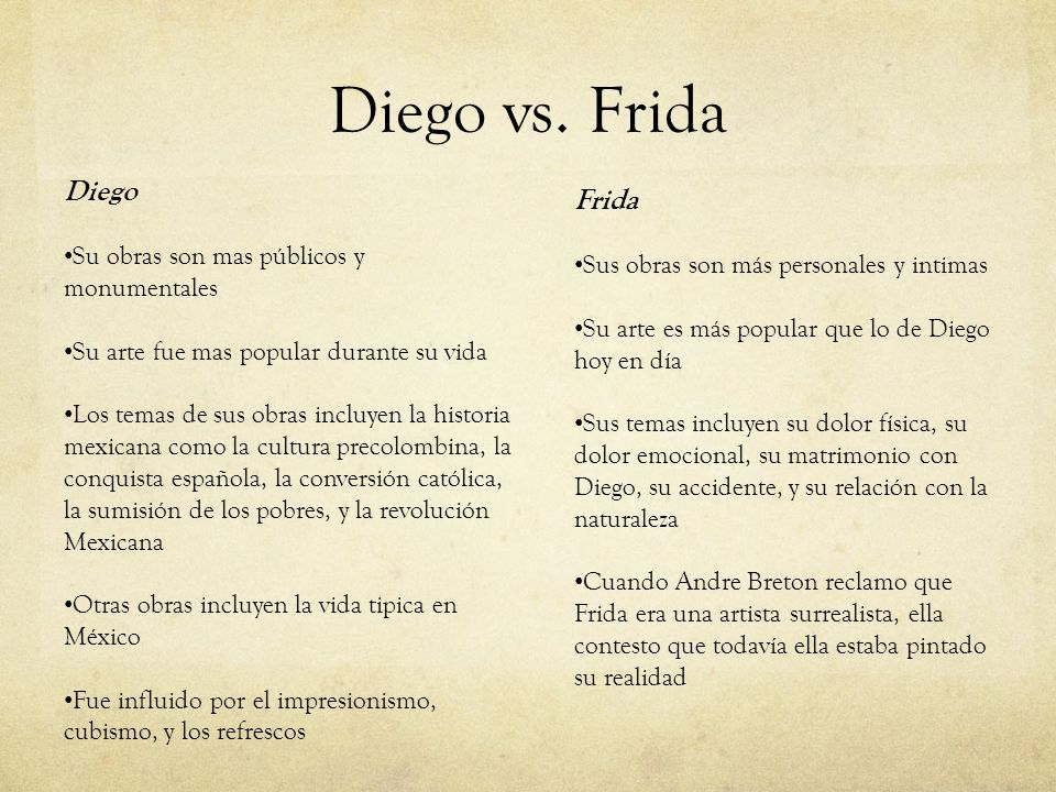 Diego vs. Frida Diego Su obras son mas públicos y monumentales Su arte fue mas popular durante su vida Los temas de sus obras incluyen la historia mex