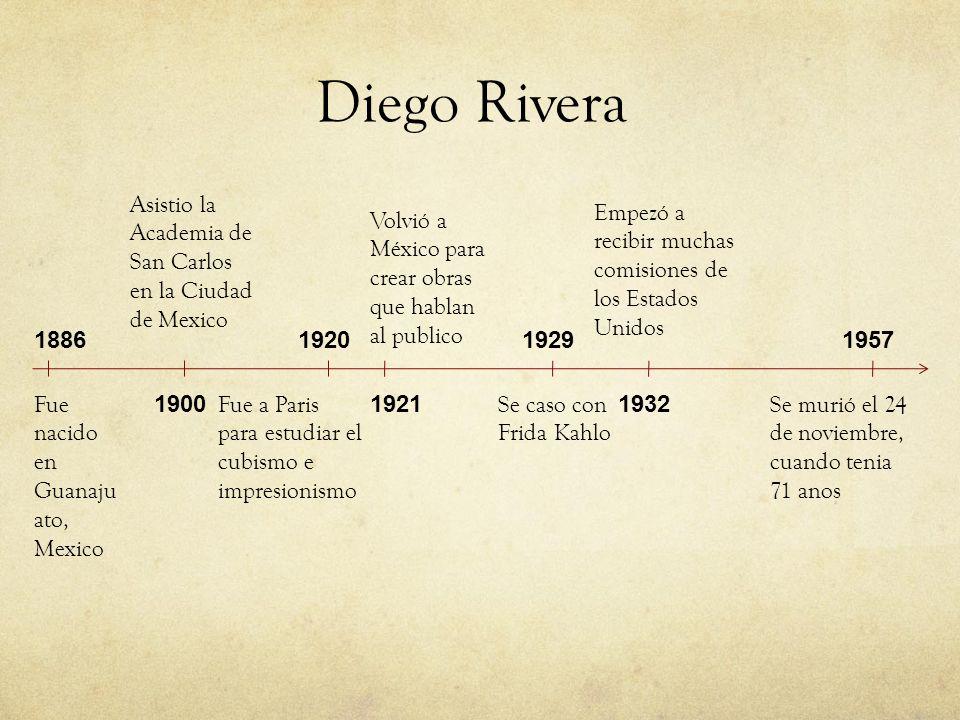 Diego Rivera Fue nacido en Guanaju ato, Mexico 1886 1900 Asistio la Academia de San Carlos en la Ciudad de Mexico 1920 Fue a Paris para estudiar el cu