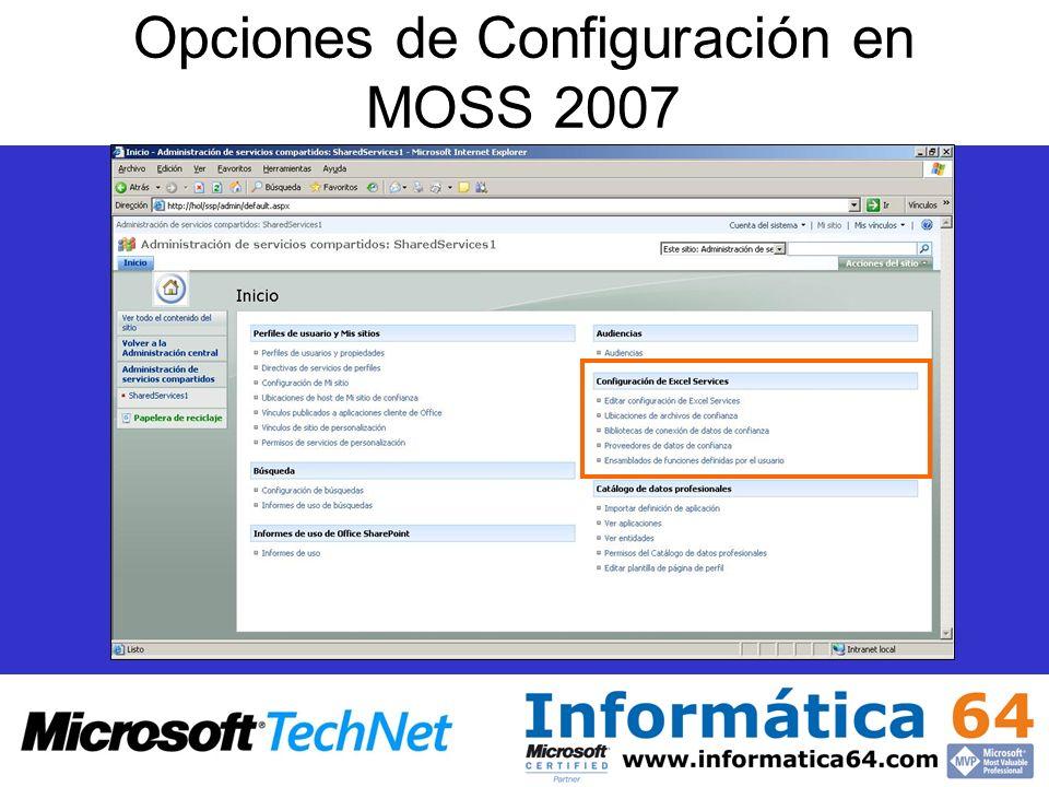Opciones de Configuración en MOSS 2007