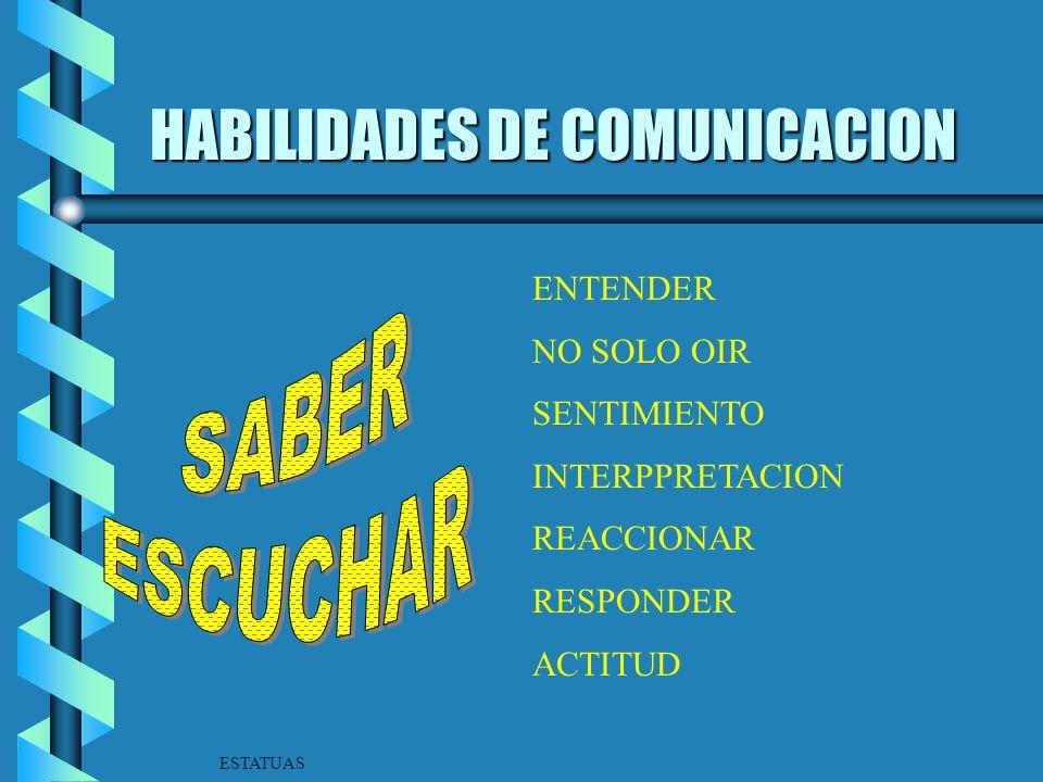 HABILIDADES DE COMUNICACION b TENER UN PROPOSITO b UN CONTENIDO b ADAPTAR EL MENSAJE AL PUBLICO b COMO HACERLO b DONDE Y CUANDO b NATURALIDAD b CLARID