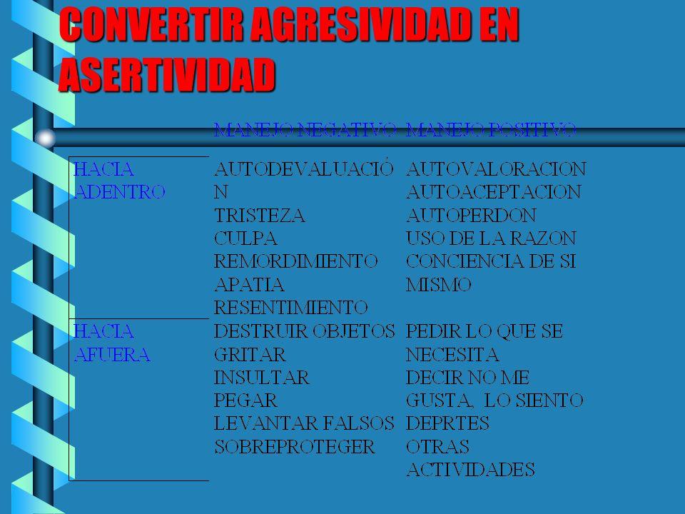 DERECHOS DE LA ASERTIVIDAD b A TOMAR DECISIONES b A DECIR NO ENTIENDO b A DECIR NO ME IMPORTA TODOS TENEMOS DESCARGAS DE AGRESIVID QUE SE PUEDEN TORNA