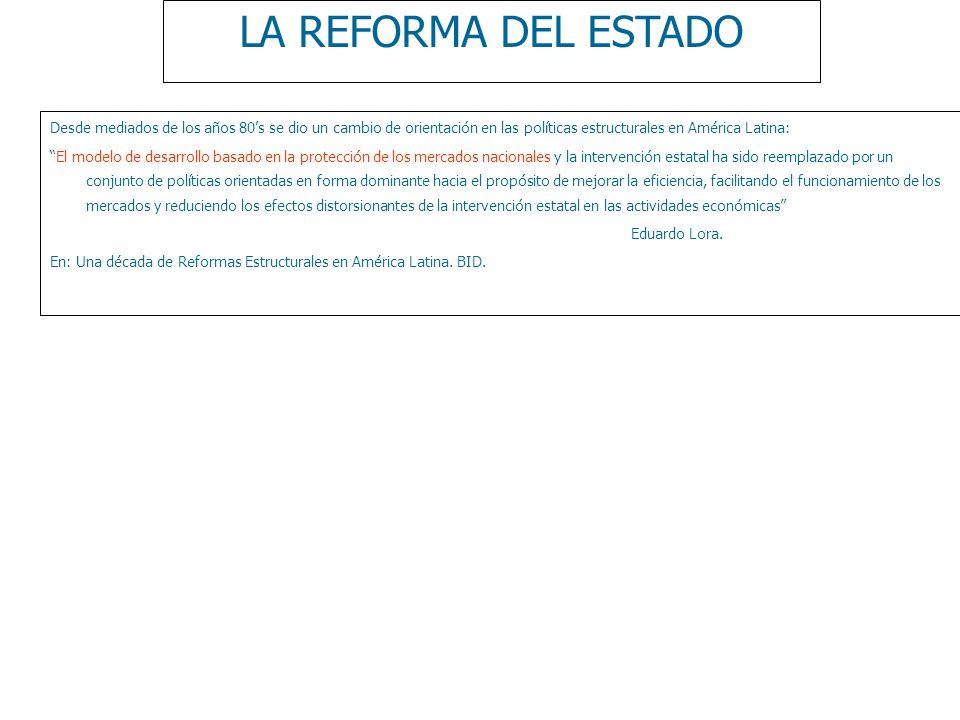 LA REFORMA DEL ESTADO Desde mediados de los años 80s se dio un cambio de orientación en las políticas estructurales en América Latina: El modelo de de