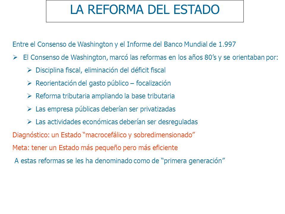 LA REFORMA DEL ESTADO Entre el Consenso de Washington y el Informe del Banco Mundial de 1.997 El Consenso de Washington, marcó las reformas en los año