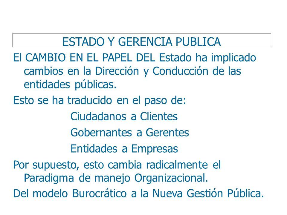 ESTADO Y GERENCIA PUBLICA El CAMBIO EN EL PAPEL DEL Estado ha implicado cambios en la Dirección y Conducción de las entidades públicas. Esto se ha tra
