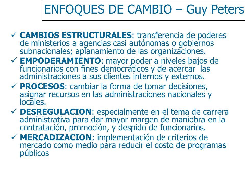 ENFOQUES DE CAMBIO – Guy Peters CAMBIOS ESTRUCTURALES: transferencia de poderes de ministerios a agencias casi autónomas o gobiernos subnacionales; ap